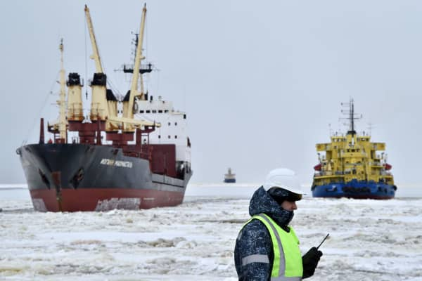 The icebreaker Tor (right) at the port of Sabetta in the Kara Sea shoreline on the Yamal Peninsula in the Arctic circle, some 2450 km of Moscow.