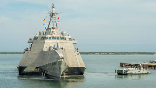 The future USS Omaha littoral combat ship preparing to make a fuel stop at Naval Station Guantanamo Bay on Jan. 3, 2018 on its way to its homeport of San Diego.