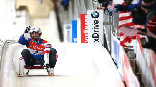 Chris Mazdzer of the U.S. luge team competes in Lake Placid, New York, in December 2017.
