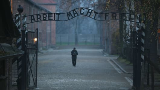 The infamous German inscription that reads 'Work Makes Free' at the main gate of the Auschwitz I extermination camp in Oswiecim, Poland.