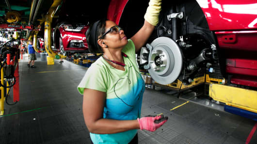 A Ford assembly worker at the Flat Rock Assembly Plant in Flat Rock, Michigan.
