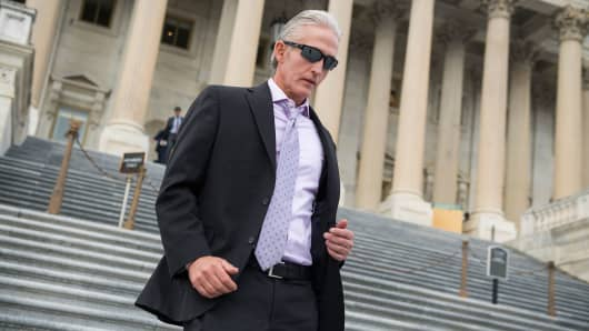 Rep. Trey Gowdy, R-S.C., left, leaves the Capitol after the House passed a fiscal 2018 budget resolution on October 26, 2017.