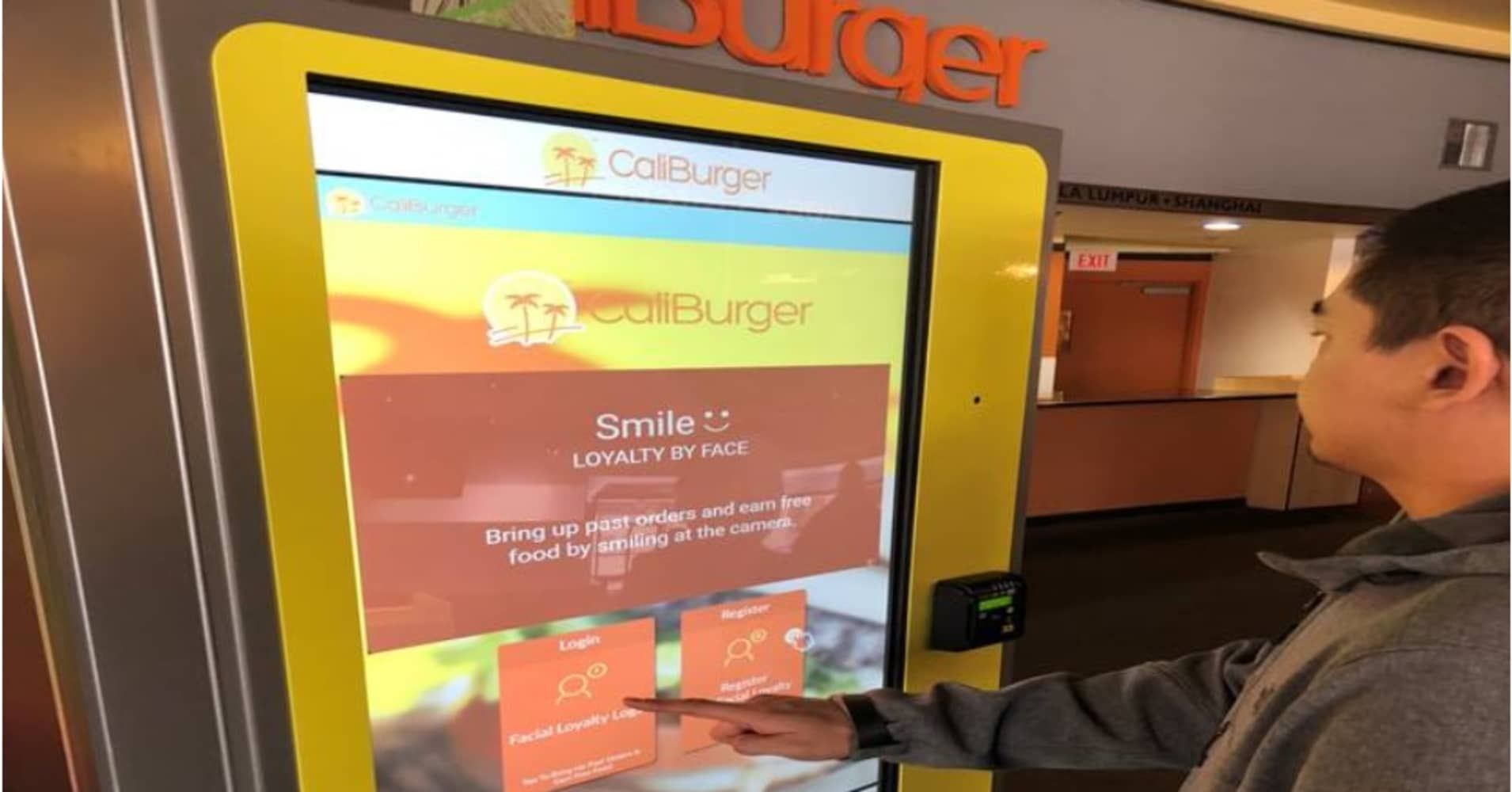 As of Tuesday, customers of CaliBurger is Pasadena, Calif., can pay for a their order with their face.