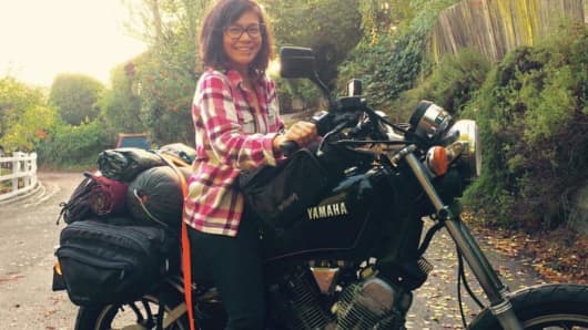 Tiffany Camhi prefers smaller, Japanese bikes, like her 1983 Yamaha Virago XV500, over larger motorcycles.