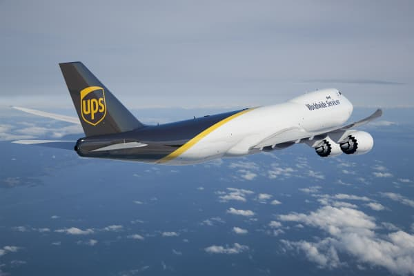 A UPS Boeing 747 jet.