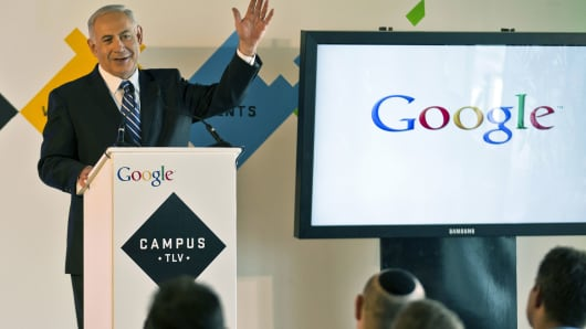 Israeli Prime Minister Benjamin Netanyahu gives a press conference for the launch of 'Campus TLV' a technology hub for Israeli start-ups, entrepreneurs and developers at Google's new offices in Tel Aviv in 2012.
