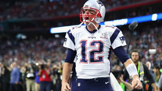 Tom Brady #12 of the New England Patriots takes the field prior to Super Bowl 51 against the Atlanta Falcons at NRG Stadium on February 5, 2017 in Houston, Texas.