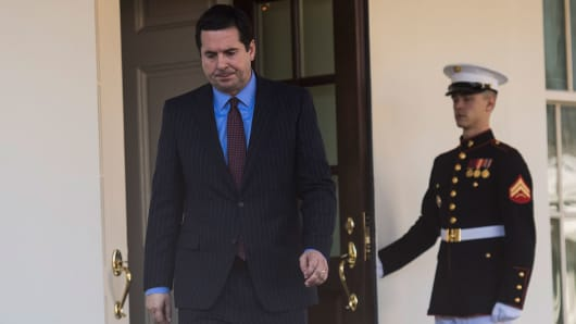 House Intelligence Committee Chairman Rep. Devin Nunes, R-Calif., walks out to speak with reporters outside the West Wing of the White House following a meeting with President Donald Trump in Washington, DC on Wednesday, March. 22, 2017.