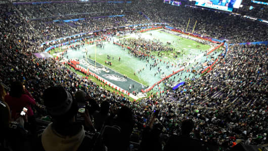 The Philadelphia Eagles celebrate after defeating the New England Patriots in Super Bowl LII at U.S. Bank Stadiumin Minneapolis.