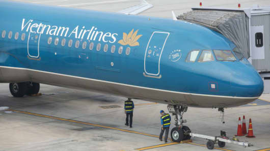 Vietnam Airlines airplane seen in Hanoi Noi Bai International Airport on March 31, 2015.