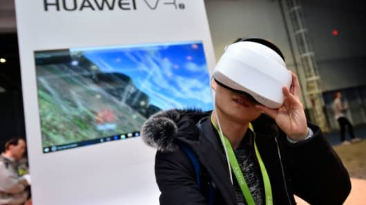 The Huawei booth at the Consumer Electronics Show in Las Vegas in January 2018