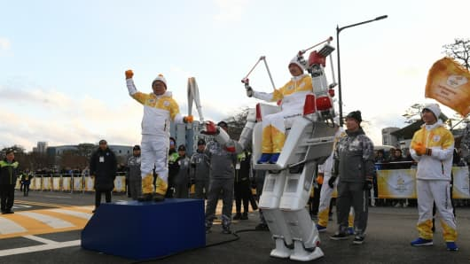 Day 41 of the PyeongChang 2018 Olympic Torch Relay saw a special appearance from Robot HUBO, the second torchbearer of the afternoon at the Korean Advanced Institute of Science and Technology (KAIST) in Daejeon. December 12, 2017.