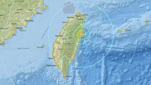 The U.S. Geological Survey says a magnitude-6.4 earthquake has struck near the coast of Taiwan.