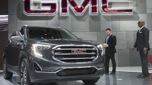 The 2018 GMC Terrain SUV is on display during the 2017 North American International Auto Show in Detroit, Michigan on January 10, 2017.