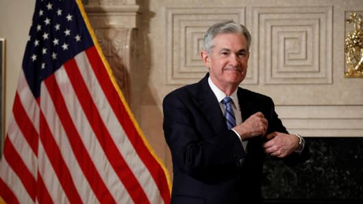 Federal Reserve Chairman Jerome Powell arrives to take the oath of office at the Federal Reserve in Washington, U.S., February 5, 2018.