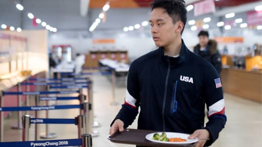 A US athlete at a canteen in the Olympic Village in PyeongChang, South Korea.