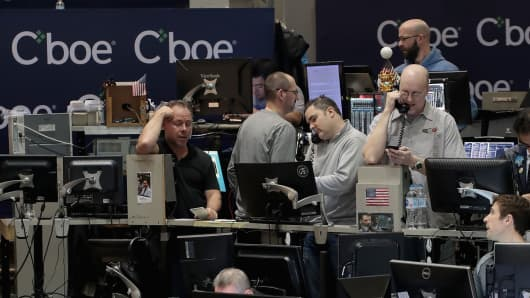Traders trade VIX contracts at the Cboe Global Markets exchange.