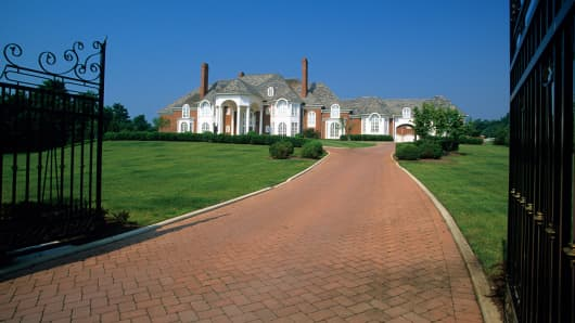 View of a gated mansion in Potomac, Maryland.