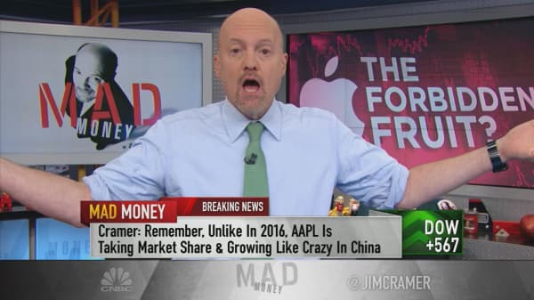 Cramer tracks Apple's rebound after lackluster quarter and several-day sell-off