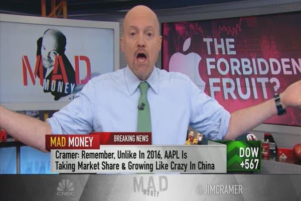 Cramer tracks Apple's rebound after lackluster quarter and several-day sell-off