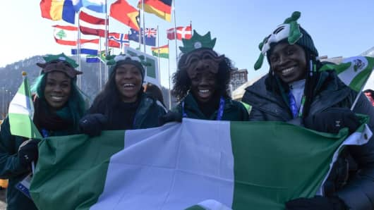 Nigeria's women's bobsleigh and skeleton team members Seun Adigun, Ngozi Onwumere, Akuoma Omeoga and Simidele Adeagbo attend a welcoming ceremony for the team in the Olympic Village in Pyeongchang ahead of the Pyeongchang 2018 Winter Olympic Games.
