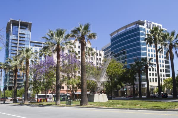 Business district area of downtown San Jose, California.