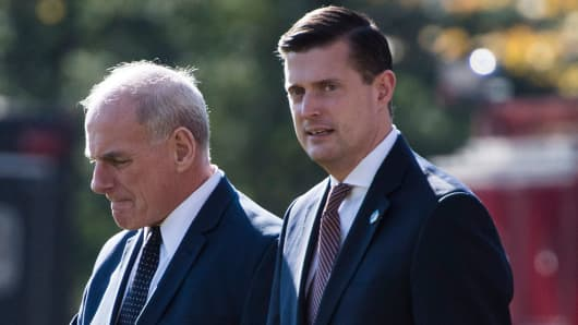 White House Chief of Staff John Kelly and Staff Secretary Rob Porter (r).