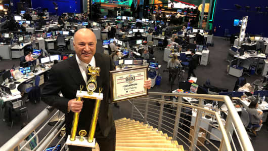 Kevin O'Leary wins Power Lunch Stock Draft Championship.