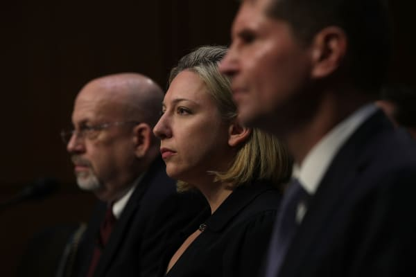 Head of cybersecurity at the Department of Homeland Security, Jeanette Manfra testify before the Senate Intelligence Committee.