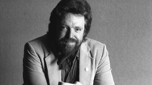 Portrait of John Perry Barlow at the annual PC Forum in 1991.