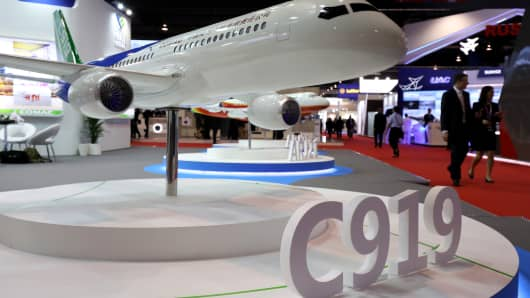 A model of Comac's C919 aircraft at the Singapore Airshow on Feb. 6, 2018.