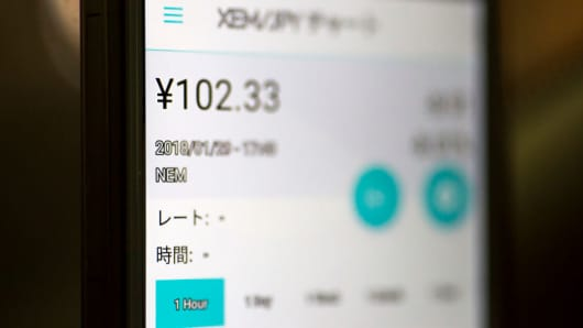 The exchange rate of the NEM virtual currency against Japanese yen is seen on Coincheck's cryptocurrency wallet app on January 29, 2018