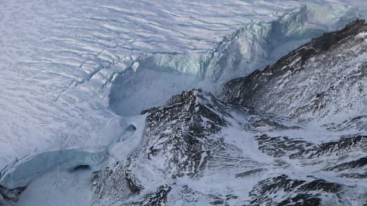 A glacier is seen from NASA's Operation IceBridge research aircraft on March 29, 2017 above Ellesmere Island, Canada.