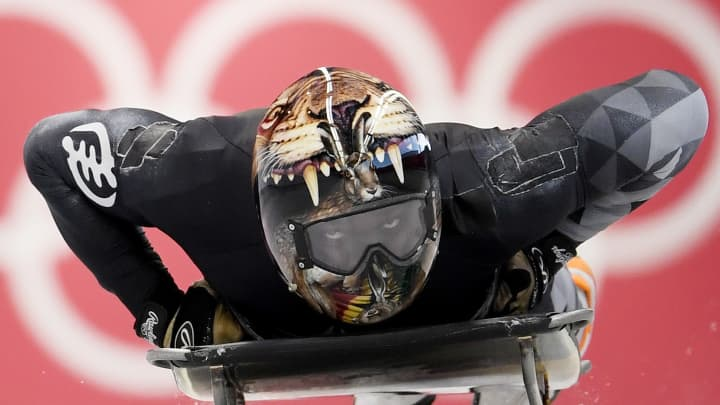 Akwasi Frimpong of Ghana practices during Men's Skeleton training ahead of the PyeongChang 2018 Winter Olympic Games on February 7, 2018, in Pyeongchang-gun, South Korea.