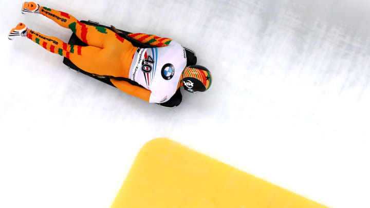 Akwasi Frimpong of Ghana competes at the International Bobsleigh and Skeleton Federation World Championships on February 24, 2017, in Koenigssee, Germany.