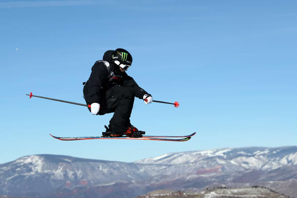Gus Kenworthy trains for the Men's Ski Slopestyle final during the Toyota U.S. Grand Prix on January 14, 2018 in Snowmass, Colorado.