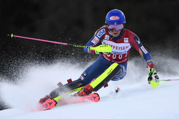 Mikaela Shiffrin of USA in action during the Audi FIS Alpine Ski World Cup Women's Slalom on January 28, 2018 in Lenzerheide, Switzerland.