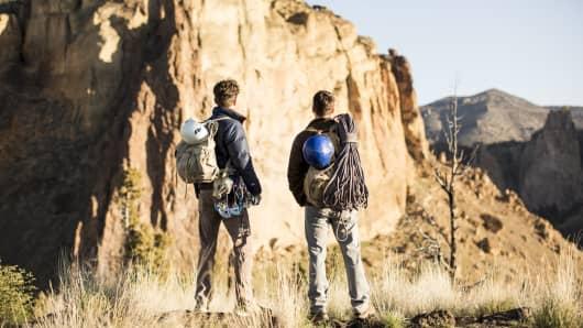 Two men rock climbing in Bend, Oregon.
