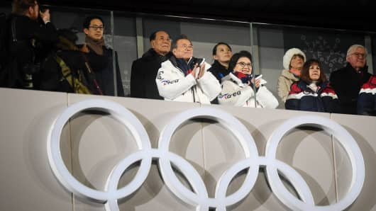 Moon Jae-in, President of South Korea and Kim Yo-Jong attend during the Opening Ceremony of the PyeongChang 2018 Winter Olympic Games