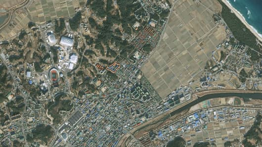 The Gangneung Olympic Park as pictured by an Airbus Pléiades satellite.