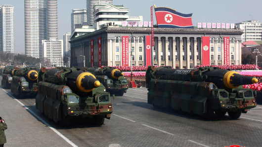 Intercontinental ballistic missiles are seen at a grand military parade celebrating the 70th founding anniversary of the Korean People's Army at the Kim Il Sung Square in Pyongyang.