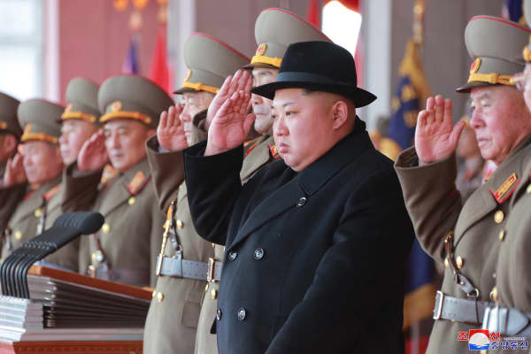 North Korean leader Kim Jong Un attends a grand military parade celebrating the 70th founding anniversary of the Korean People's Army at the Kim Il Sung Square in Pyongyang.