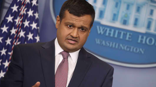 Principal Deputy Press Secretary Raj Shah, answers questions about former White House staff secretary Rob Porter during a press briefing at the White House, on February 8, 2018 in Washington, DC.