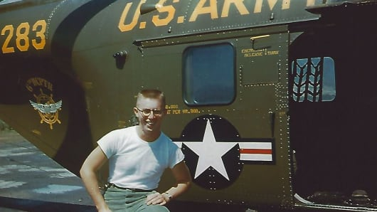 A 19-year-old Corporal Lewis Ewing in Chuncheon, South Korea, 1953 while serving with the U.S. Army's 6th Helicopter Company