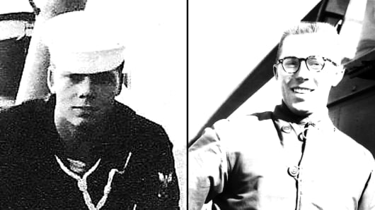 Left: Third Class Petty Officer Jack Keep on watch at sea aboard the USS Gatling, off the coast of North Korea, 1953. Right: Corporal Lewis Ewing, serving with the 6th Helicopter Company in Chuncheon, South Korea, 1953.