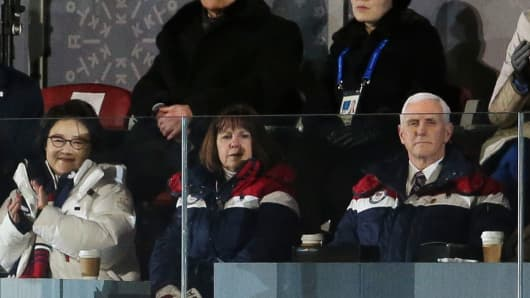 President of North Korea Kim Yong-nam and Kim Yo-jong, sister of President of North Korea Kim Jong-un, below Mike Pence, Vice-President of USA and his wife Karen Pence during the Opening Ceremony of the PyeongChang 2018 Winter Olympic Games at PyeongChang Olympic Stadium on February 9, 2018 in Pyeongchang-gun, South Korea.
