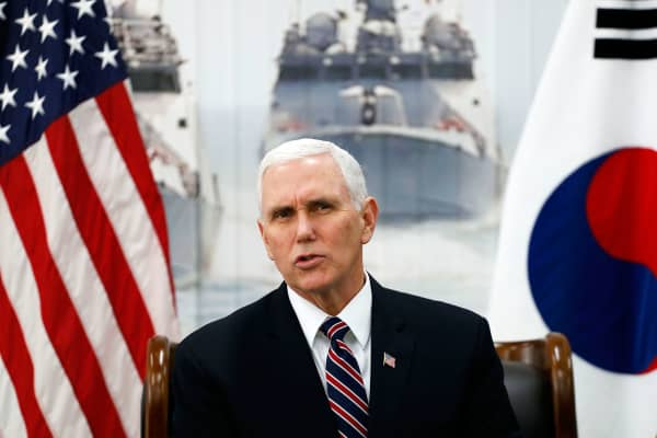 Vice President Mike Pence(L) talks at the meeting with Fred Warmbier, the father of Otto warmbier who was imprisoned in North Korea for 17 months and North Korean defectors at the meeting room in the South Korean Navy 2nd Fleet Commnad on February 9, 2018 in Pyeongtaek, South Korea.