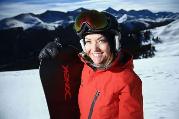 Amy Purdy poses for a portrait during a training session on December 18, 2013 in Copper Mountain, Colorado.