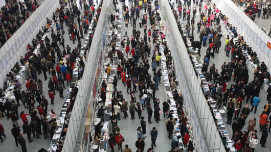Applicants at a labour market in Xi'an, China on February 27, 2016.