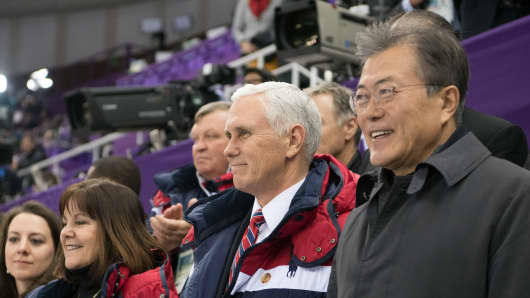 Vice President Mike Pence and President of South Korea Moon Jae-in watch short track speed skating at Gangneung Ice Arena on February 10, 2018 in Gangneung, South Korea.